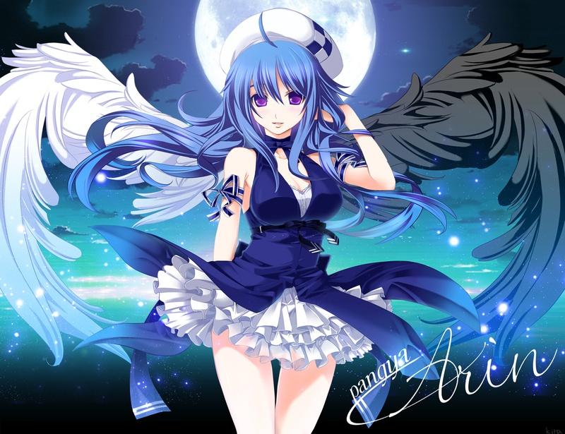 Hinata Staticyoocode S2 Images Website 2477972 Image Angel Arin Blue Hair Hat Moon Pangya Purple Eyes Wings 1