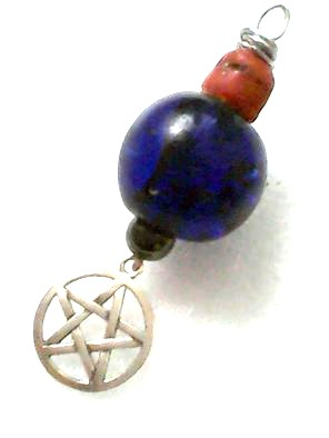 Coral & Cobalt Pentacle Pendant